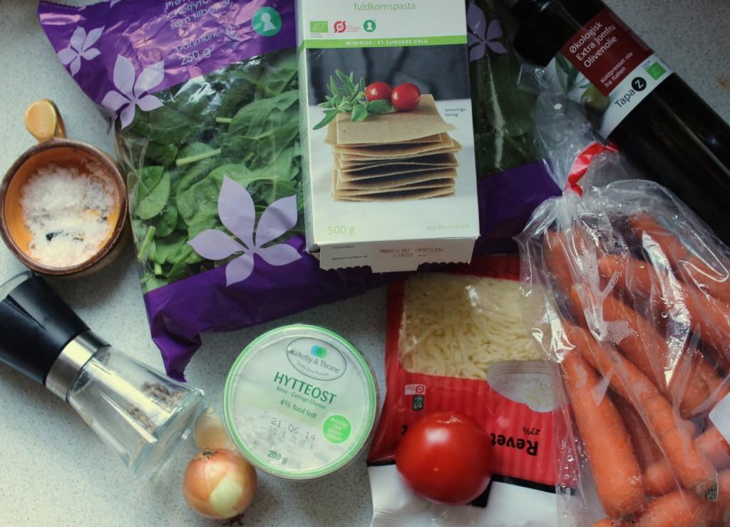 Ingredienser til vegetar-lasagnen.
