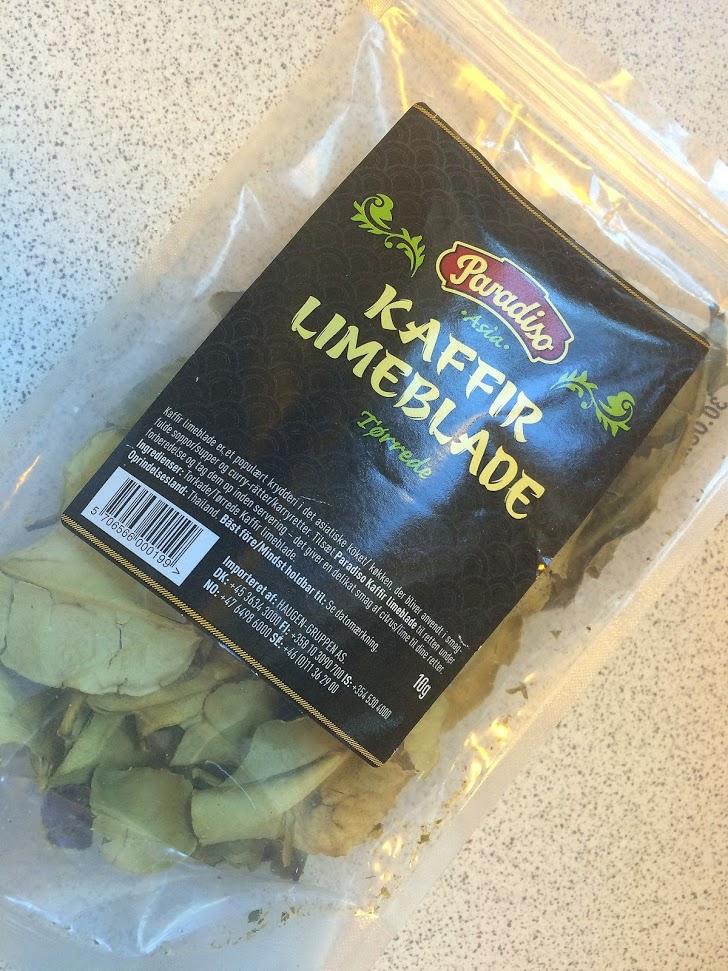 Sådan ser kaffirlime-blade ud, hvis du nu har tænkt dig at lede efter dem.